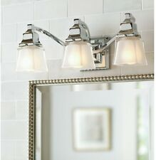 Bathroom Lighting Hampton Bay 3-Light Chrome Silver Glass Bath Vanity Fixture