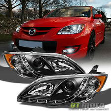 Blk 2004-2008 Mazda 3 Sedan 4DR Projector Headlights w/ Running Lamps Left+Right
