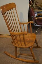 Large 9 Spindle Sheraton Style Oak Rocking Chair Turned Legs & Curved Arms Ships
