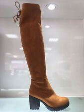 LADIES WOMENS OVER KNEE CAMEL/BROWN SUEDE FAUX MID BLOCK HEEL BOOTS SHOES SIZE 8