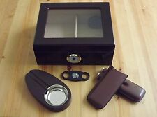 Cherry Spanish Cedar Glasstop 50 Cigar Humidor Set Ashtray Two Cigar Case Cutter