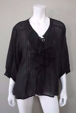 DENIM & SUPPLY Ralph Lauren Black Ruffled Blouse Shirt Top sz XL Boho