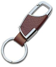 598- Chrome BROWN TAN Metal Leather Clasp Hook Key Chain Classy BMW Honda VW