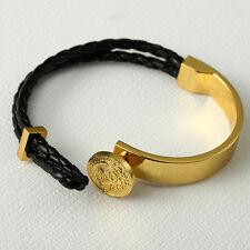 2016 HOT New 18K Yellow Gold Plated Large Medusa Head Leather cord Bracelet