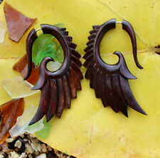 Organic Hand Carved Fake Gauges   Wood Earrings Natural  wing faux gauge