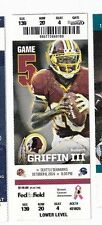 2014 WASHINGTON REDSKINS VS SEATTLE SEAHAWKS TICKET STUB 10/6 NFL ROBERT GRIFFIN