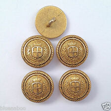 5 x METAL gold coloured blazer buttons decorative edging  shank on back 15mm