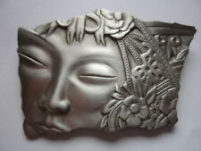 "Vintage Signed JJ ""Silver pewter Art Deco Oriental Ladies Face"" Brooch/Pin"