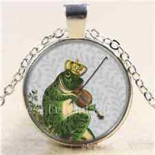 Frog Prince Charming  Cabochon Glass Tibet Silver Chain Pendant Necklace#2118