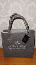 BNWT DEVERE & BROOKS CHARCOAL GREY FELT TOTE BAG / SHOPPING BAG - STAG LOGO!