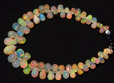 Natural Ethiopian Opal Super Fine Quality Rainbow Fire Teardrop Briolettes 5.5""