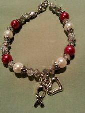 Red and White squamous cell cancer awareness glass pearl bracelet