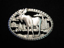 """JJ"" Jonette Jewelry Silver Pewter 'Moose ~ Wilderness Scene' Pin"