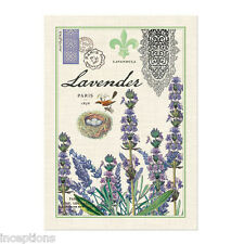 Michel Design Works Cotton Kitchen Tea Towel Lavender Postcard Bird & Nest - NEW