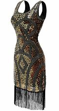 QNPRT 1920s Vintage Gatsby Prom Flapper Dress Bead Sequin Art Nouveau DecoL