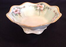 R S GERMANY Footed Bowl Porcelain Pink Rose Hand Painted