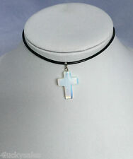 New fashion Christian Cross Crystal Quartz with leather Pendant Necklace