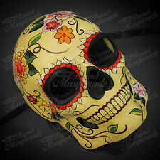 Mens Day of the Dead Full Face Skull Yellow Flora Halloween Masquerade Mask