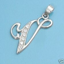 V Letter Pendant Sterling Silver 925 Best Price Alphabet Jewelry USA Seller