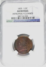 1835 US Mint 1/2 Cent NGC Graded AU Details Improperly Cleaned Classic Head Coin