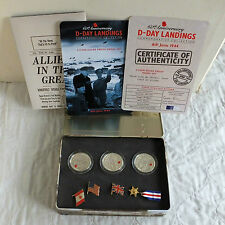 CHANNEL ISLANDS 2004 D-DAY LANDINGS 3 x £5 SILVER PROOF SET - complete