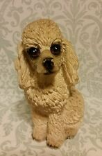 WHITE AND GREY GRAY TOY POODLE DOG FIGURINE STATUE RESIN PET DECOR