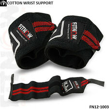 Weight Lifting Wrist Support Elasticated Gym Workout Cotton Bandage Straps Red