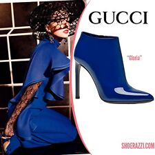 NEW WITH BOX GUCCI RUNWAY GLORIA PATENT LEATHER BLUE INDIGO BOOTS BOOTIES 39 9