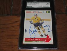 BORJE SALMING AUTOGRAPHED 1992 FUTURE TRENDS CARD-SGC SLAB-CANADA CUP-ALL STAR