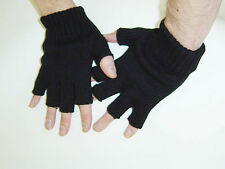 Gothic Horror Punk Goth Rock Psychobilly 80s Mens Black Knit Fingerless Gloves