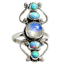Rainbow Moonstone 925 Sterling Silver Ring Jewelry s.9 RR19170