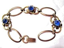 PRETTY SIGNED VAN DELL 12K GOLD OVER STERLING LINK BRACELET BLUE GLASS FLOWERS
