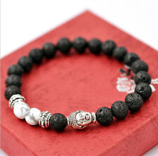 7MM Beads Man's Bracelet Lava Rock and White HOWLITE Stone Silver Buddha Head
