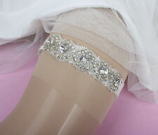 Glass Rhinstones Elastic Trim White Bridal Garter For Wedding Handmade