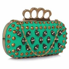 DIAMANTE KNUCKLE RING STUDS SKULLS GOTHIC CLUTCH/EVENING BAG WEDDING/PARTY BNWT