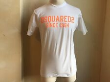 DSQUARED² CLASSIC CRISP WHITE NEON ORANGE SIGNATURE LOGO PRINT T SHIRT S L 1964