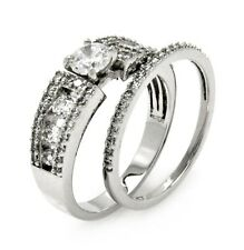 BGR00458/ 925 STERLING SILVER LADIES WEDDING RING & BAND SET W/MAN MADE DIAMOND