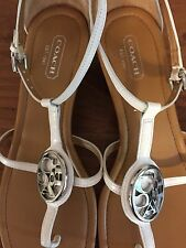 COACH Women's White Leather Wood Wedge Sandals SILVER Logo Strappy Shoe  8.5 B