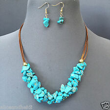 Faux Brown Leather Cord Turquoise Stone Beaded Design Necklace with Earrings