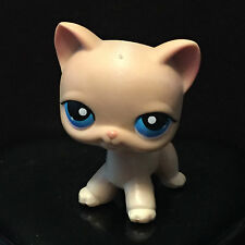 Littlest Pet Shop - 228 Tan Cream Siamese Cat with Blue Eyes - LPS Striped Tail