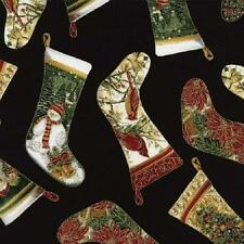 Fat Quarter Christmas Stockings 100% Cotton Quilting Fabric - Timeless Treasures