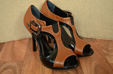 KAREN MILLEN Brown/black patent leather cut out peep toe heels UK 3 36
