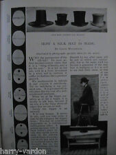 Silk Top Hat Making Maker Milliner Millinary Block Antique Old Hats Article 1899