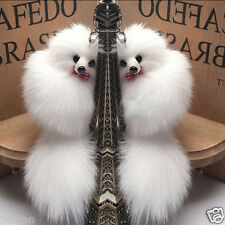 1Pcs White Fox Fur Tail Keychain Tassel Bag Tag Charm Handbag Pendant Accessory