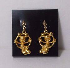 Vtg 3D Gold Mickey Mouse on Hoop Swing Disney Earrings Dangle Pierced USA Seller
