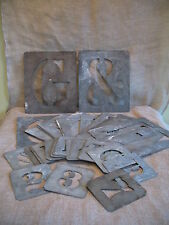 "37 x VINTAGE METAL STENCILS LETTERS & NUMBERS - PLATES 8"" HIGH"