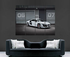 AUDI R8 SUPER POSTER SPEED WHITE RACING CAR FAST IMAGE LARGE WALL PICTURE