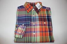 NWT RALPH LAUREN Size M 10-12 Boy's L/S  Multi-Color Plaid Brushed Cotton Shirt