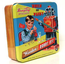 Vintage Style 'Build & Paint A Robot' Kit Tin Box Retro Wooden Toy Wu & Wu