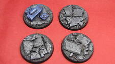 PAINTED 4 x 50mm Centurion Resin bases rubble Objective Marker Wahammer 40k